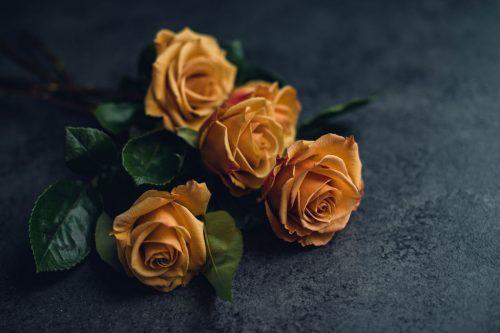 bunch of mustard roses