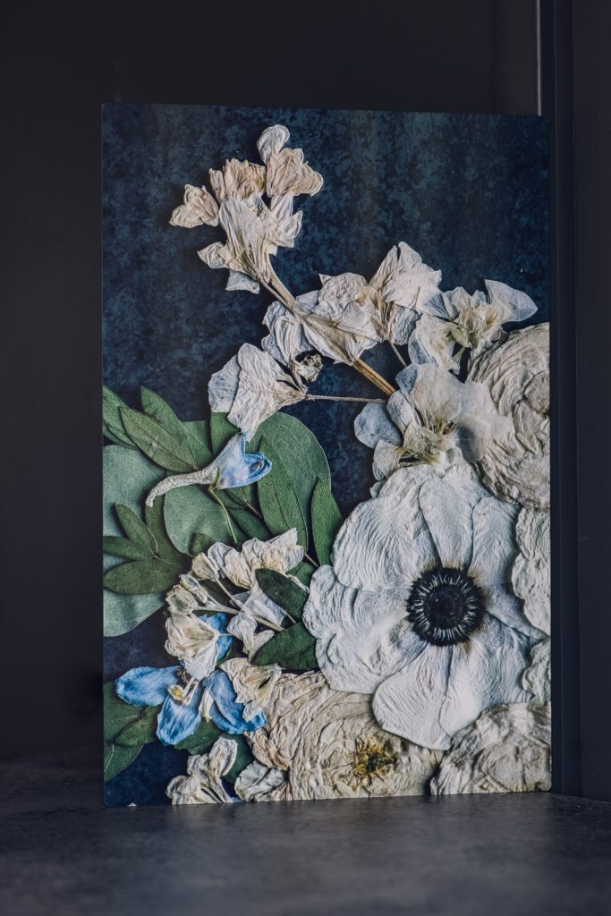 Pressed flower art print with anemone