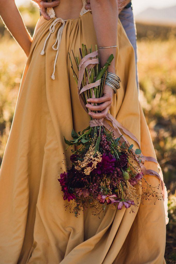 wild hand tied colorado autumn elopement bouquet