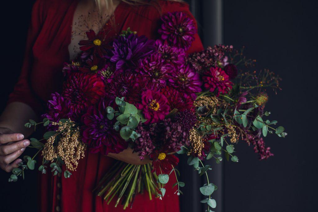jewel tone dahlia and zinnia autumn bouquet