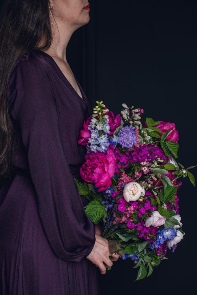 large vibrant magenta and purple wedding bouquet