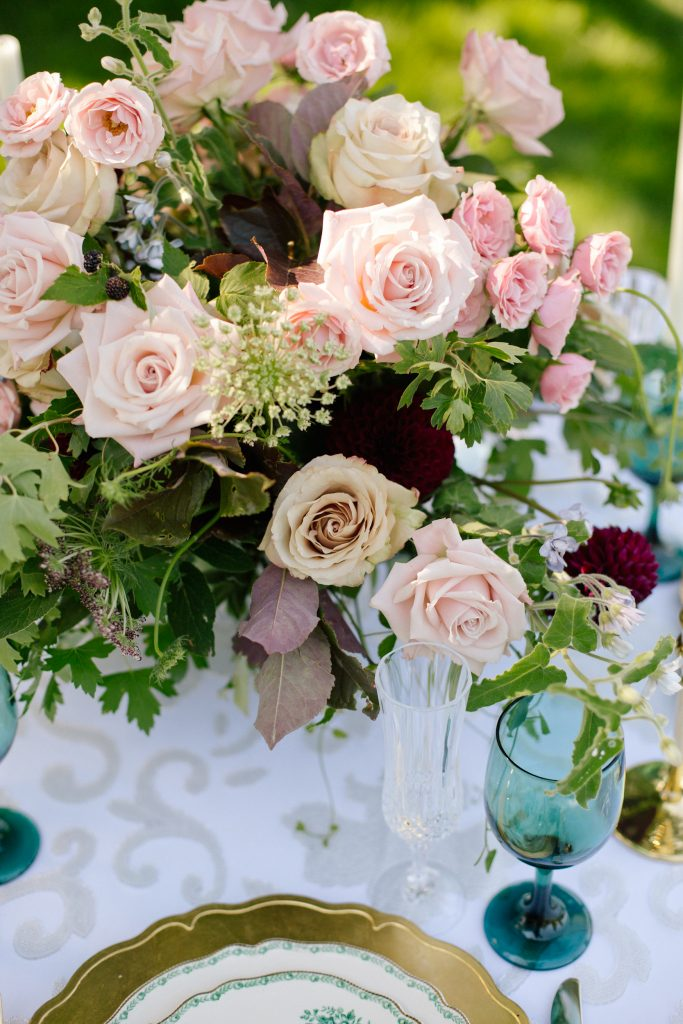 blush spring centerpiece for an outdoor wedding