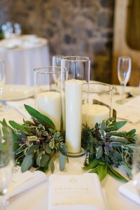 Romantic Candle Centerpieces & Fire Place Mantel